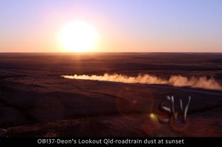 OB137-Deon's-Lookout-Qld-roadtrain-dust-at-sunset