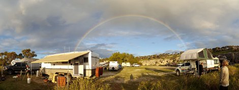 Pano of rainbow after rain Cliff Head