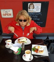 Me tucking into breaky at Happy's Country Diner