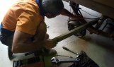 B removing old axle