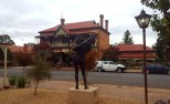 Hotel & sculpture, Riverton
