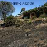 How far the fire came to a home - Photo Northern Argus