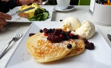 Zest - pancakes with fresh berries & Eggs Benedict