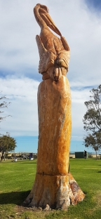 Meningie-carving on foreshore