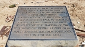 Plaque at Magee's Shanty ruins, 1991 re enactment
