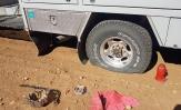 Spiked a tyre on truck between Yaraka & Stonehenge