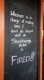 Sign at Stonehenge Hotel